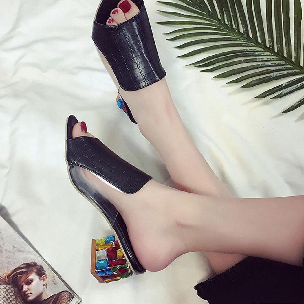 HTB1aBq4hnCWBKNjSZFtq6yC3FXaf KarinLuna 2019 brand Big size 41 elegant crystals chunky Heels Summer women's Shoes Woman Sandals leisure Shoes women slippers
