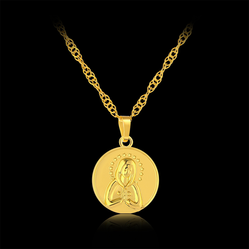 Fashion Trendy Blessed Virgin Mary Round Pendant Necklaces for Women Gold color Holy Religious Jewelry Gift Bijoux