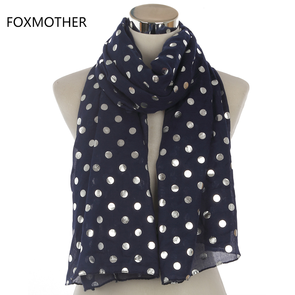FOXMOTHER 2019 New Fashion Women Navy Black White Bronzing Foil Silver Polka Dot Scarf Women Dotted Shawl Wrap Scarves