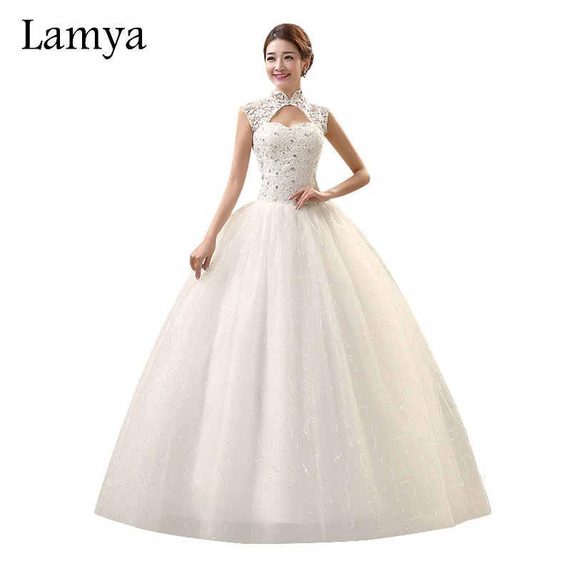 Lamya Vintage Sweatheart Lace Bride Gown Unique High Neck Design Shining Sequined Lace Up Plus Suze Wedding Dress