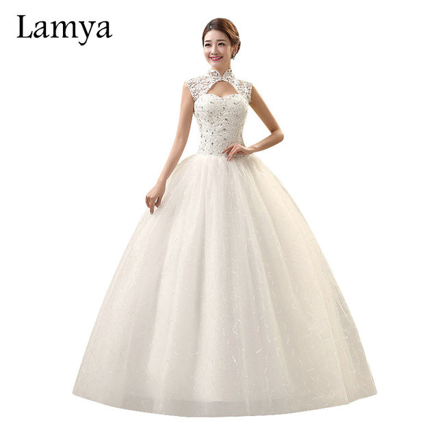 Lamya Vintage Sweatheart Lace Bride Gown Unique High Neck Design ...