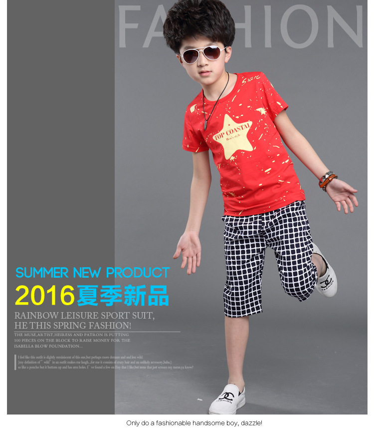 9cdef280f Summer Boys Tracksuit Casual Boy Clothing Set Handsome Kids Clothes ...