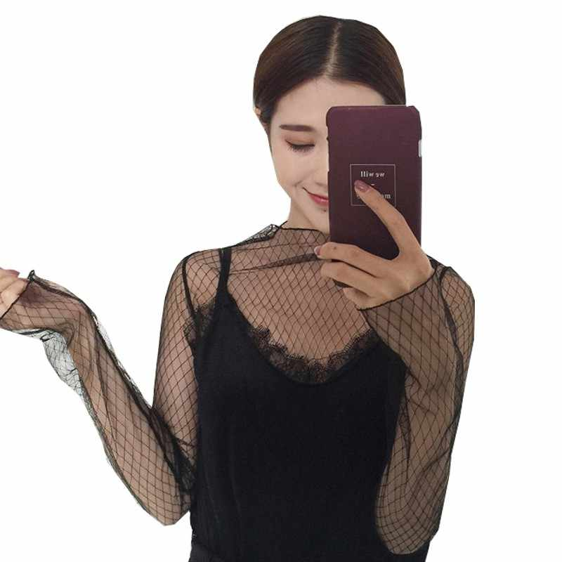 Trends Mesh Vrouwen Lange Mouwen Tops Hot Sexy Transparante Hoge Neck Black Lace Dieptepunt Shirts Punk Chic T-shirt Vrouwen