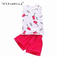 hot deal buy yilaku girls clothing sets fashion girl summer sleeveless clothes set children cartoon vest + short pants polka dot suits cf554