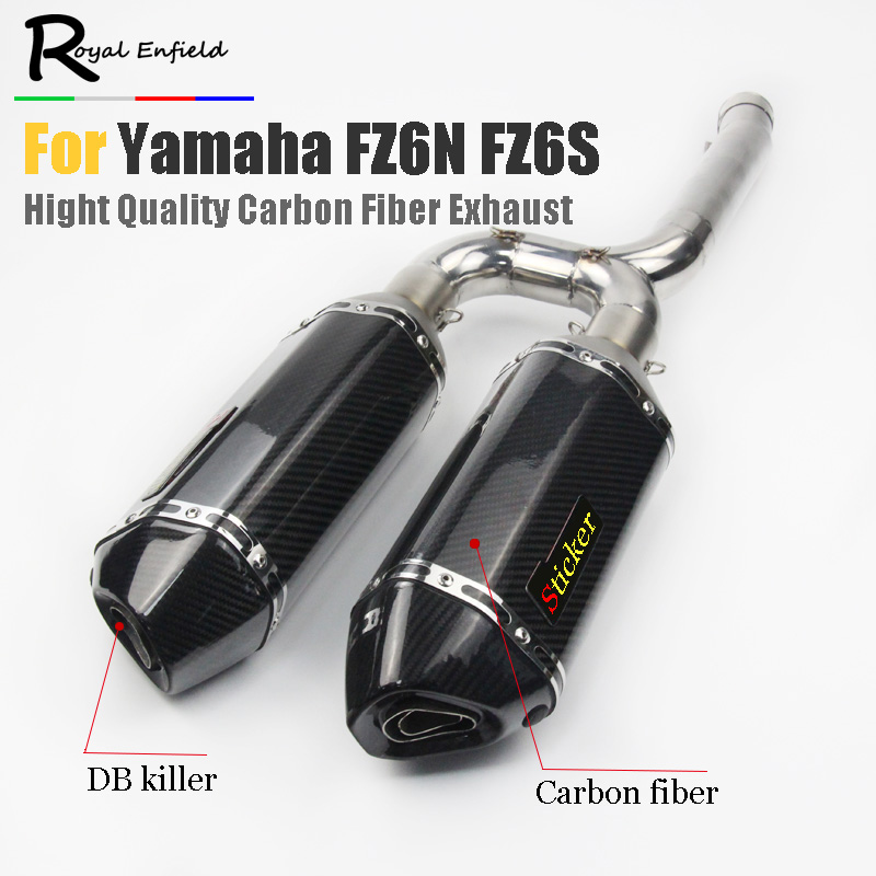 FZ6N FZ6s Motorcycle Exhaust Muffler Mid Pipe Slip on For Yamaha FZ-6N FZ-6S FZ6 Middle pipe with Carbon fiber exhaust laser log for yamaha fz6 fz600 2004 2010 2005 2006 2008 2009 fz6n fz6s fz 6s fz 6n fz 600 motorcycle aluminium radiator cooling cooler