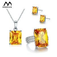 MDEAN White Gold Color Wedding Jewelry Sets AAA Yellow Zircon Engagement Vintage Rings Earrings Necklace For