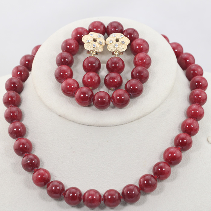 Charms Wine Red Coral Beaded African Party Jewelry Set 2017 New Girls Birthday Gift Jewelry Necklace Set 16 Colors Hot WD941Charms Wine Red Coral Beaded African Party Jewelry Set 2017 New Girls Birthday Gift Jewelry Necklace Set 16 Colors Hot WD941