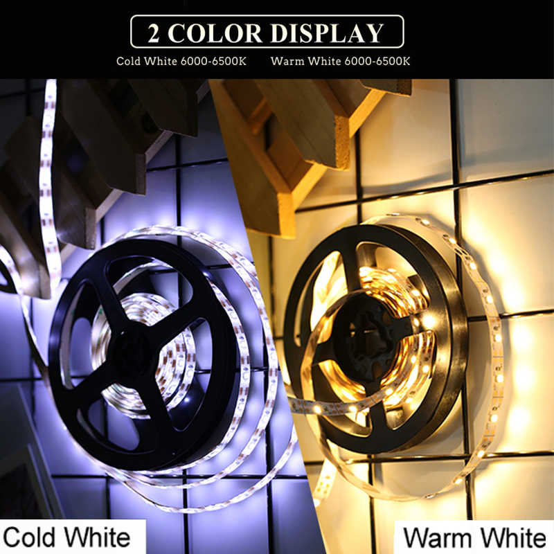 USB Lampu LED Strip 2835SMD DC5V Lampu LED Tape 1M 2M 3M 4M 5M TV pencahayaan Latar Belakang Lampu Ribbon Tape RGB/Putih/Warmwhite