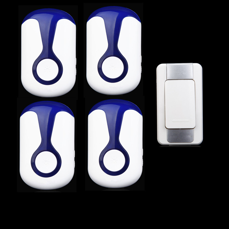 ФОТО flashing LED light for deaf 1 waterproof button+4 receivers AC 110-220V plug-in digital wireless electric doorbell