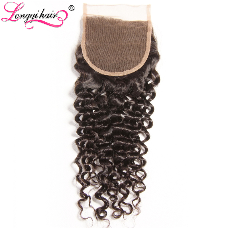 LONGQI HAIR Free Part 4x4 Cambodian Curly Closure Remy Hair 10 - 20 Inch Natural Human Hair 120% Density Middle/Three Part