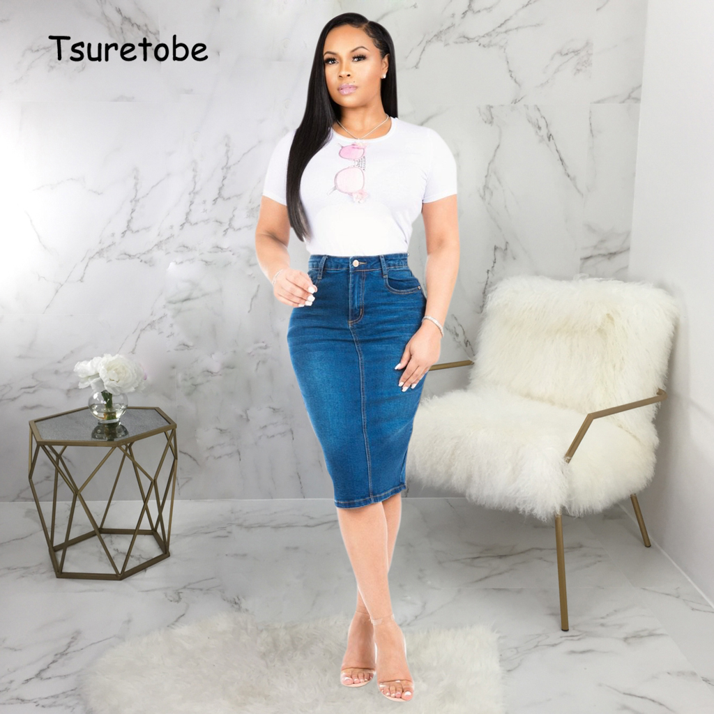 Tsuretobe Woman Casual Denim Midi Skirt Button Summer Bodycon High Waist Jeans Skirt Knee-Length Lady Elegant Pencil Solid Skirt