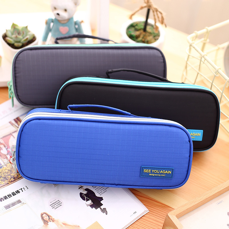 NOVERTY Multifunction School blue Pencil Case Bag Large Capacity Canvas Pen Box for Boy Girl Kids Gift Stationery Supplies 04921 купить
