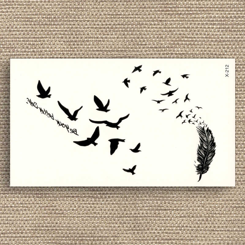 Black Tattoo Stickers Removable Water Transfer Fake tattoos disposable Waterproof Temporary Sticker Flying Birds Feather