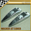 Car-styling For Puegeot Water Spray Cover Metal & Carbon Fiber Jet Washer Cap 90x25x16mm