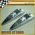 Car-styling Para Puegeot Agua Pulverizada Jet Lavadora Tapa Cubierta de Metal y Fibra de Carbono 90x25x16mm