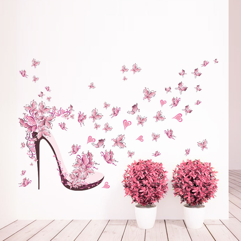 High Heeled Shoes Flying Butterfly Branch Wall Sticker Home Decor Wall Mural Diy Kids Girls Bedroom Decoration Wallpaper