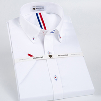 Men S Short Sleeve Solid Point Collar Dress Shirt Inner Striped 100 Pure Cotton Male White