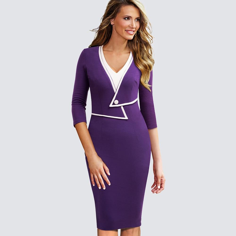Mujeres casual wear to work oficina de negocios bodycon vestido ...