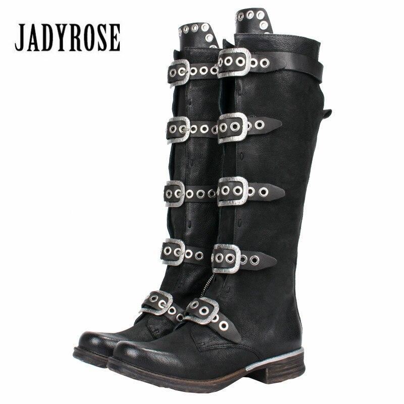 Jady роза в стиле панк женские сапоги до колена черного цвета из натуральной кожи пояса, ремни Высокие сапоги женские на резиновой платформе б...