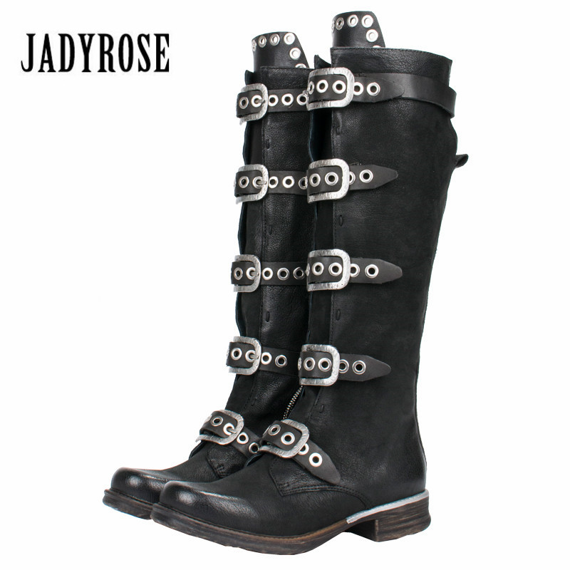 Jady Rose Punk Style Black Women Knee High Boots Genuine Leather Belt Straps High Boots Female Platform Rubber Flat Martin Boot jady rose casual gray women ankle boots straps genuine leather short flat botas autumn winter female platform martin boot