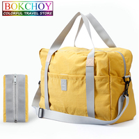 Foldable Travel Bag With Carry Rope Casual Travel Luggage Bag Large Capacity Multi Pocket Nylon Waterproof