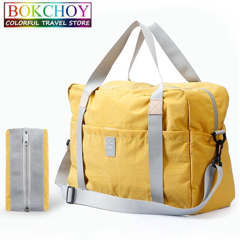 Sac de voyage pliable avec corde de transport sac de voyage décontracté grande capacité multi-poches en Nylon étanche BOKCHOY 2019 nouveau
