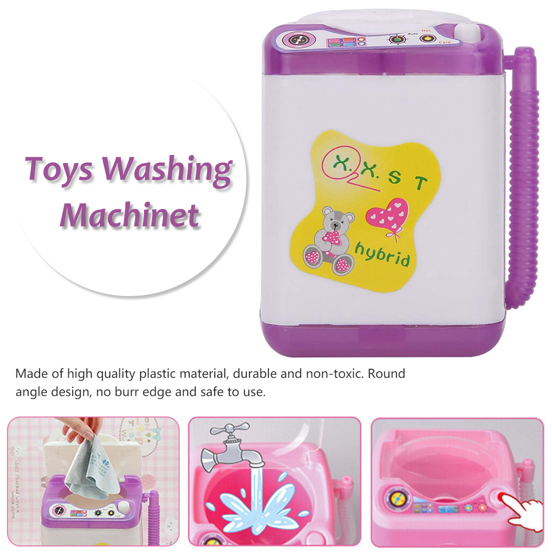 Mini Washing Machine Toy Appliance Pre School Toy Furniture Washing Machine Baby Doll House Baby Toys Children