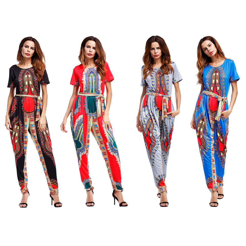 African Clothing Dashiki Dresses New Arrival Cotton Polyester Women 2017 Hot National Dress Wedding Tee Shirt Trousers Piece