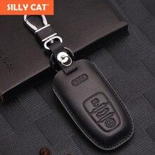 Genuine Leather Car Key Cover Case Bag for Audi A6 Q5 A4 A5 A7 A8L Q7 for Smart Car Key