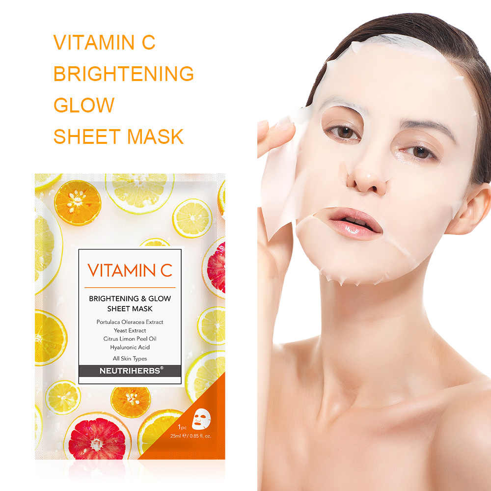 Nuetriherbs Wajah Wajah Masker dengan Vitamin C Pelembab Firming Kulit Anti Kerut Masker untuk Tidur 5 Pcs
