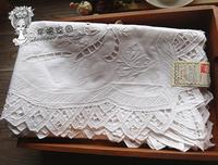 British exports collectibles * Hand Drawn white cotton openwork lace embroidered tablecloths catch / cover towel