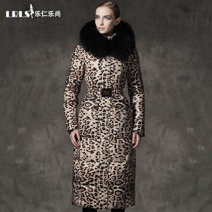 Luxo royalcat 2016 mulheres jaqueta de Inverno Para Baixo casacos com estampa de leopardo para baixo casaco longo engrossar grandes Com Capuz de pele das Mulheres Outerwear