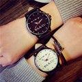 2016 Мода Se N Мо Гу Я Япония Слова Кожа Аналоговый Кварцевые Наручные Часы для Женщин Девушки Мужчины Черный OP001