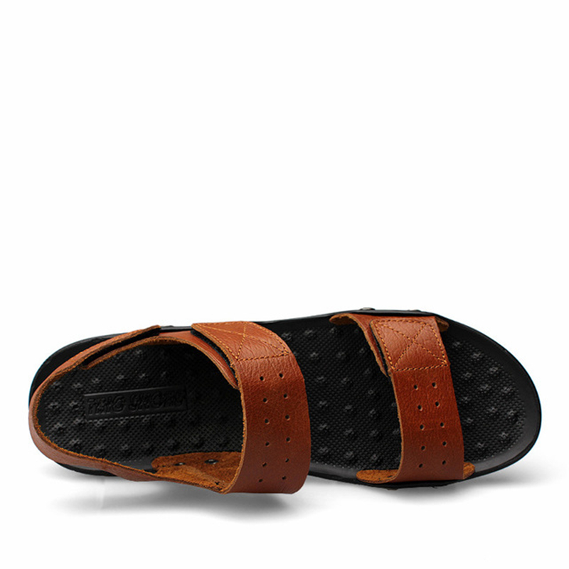 Chaussures En Taille Plat Plein Hommes Plage Romain Marron Aa11990 Occasionnels Respirant Sandales 48 Mâle Cuir D'été slip Anti kaki Eu38 Grande Air Aqq6nawd