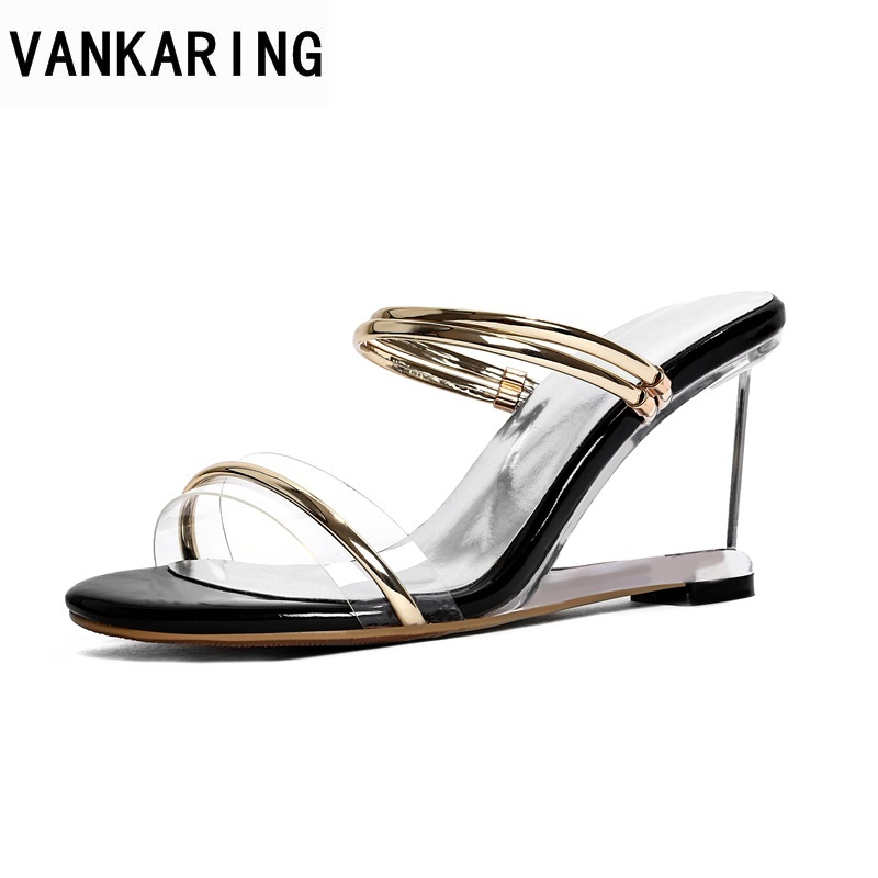 VANKARING newset 2018 summer platform sandals gold wedges shoes woman casual date slippers ladies transparent wedges sandals new women sandals low heel wedges summer casual single shoes woman sandal fashion soft sandals free shipping