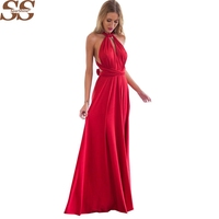20 Color Summer Sexy Women Boho Maxi Dress Red Bandage Long Dress Sexy Multiway Bridesmaids Convertible
