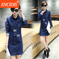 Estilo coreano bodycon de manga larga denim dress ropa mujer moda primavera otoño wrap mini dress 2017 casual jeans vestidos q67