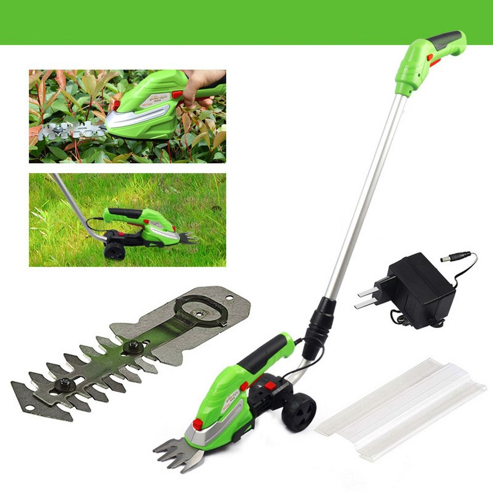 Cordless Electric lawn Mower Set Weeding Scissors with 2 Blades Home Garden Grass Trimmer 180° extension Rod Garden Tools