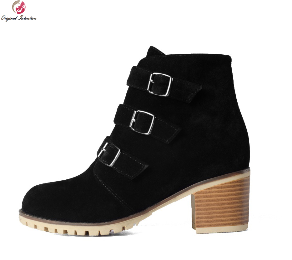 Original Intention Elegant Women Ankle Boots Popular Round Toe Square Heels Boots Black Shoes Woman US Size 4-10.5