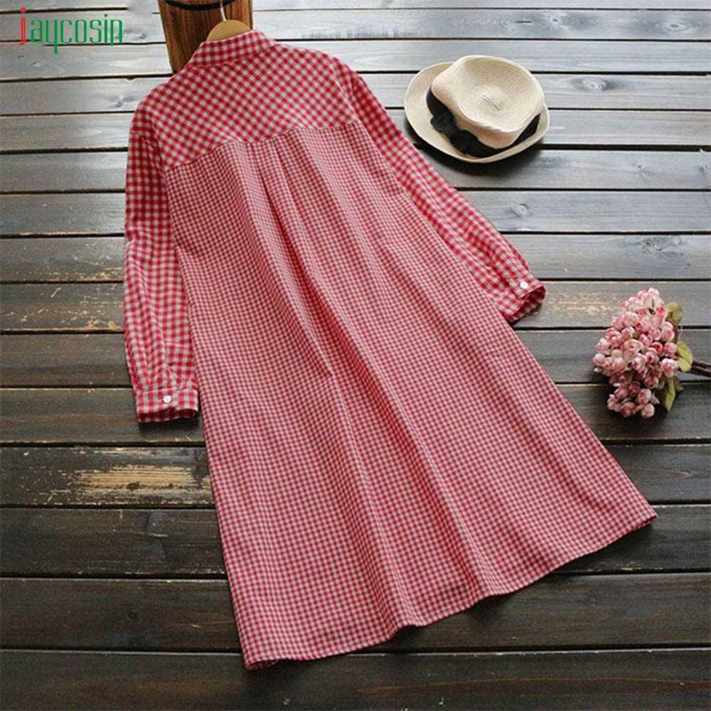 Jaycosin женское клетчатое ретро платье большого размера модное и ретро платье с длинным рукавом и отложным воротником для женщин Vestidos De Festa