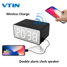 Get more info on the VTIN Wireless Charge Bluetooth 5.0 Speaker Double alarm clock Mirror screen TF AUX 10 Meters Bedside Speaker For Phone Charging