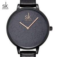 Shengke Women Leather Watch Top Brand Quartz Watch Ladies Creative Wristwatch Relogio Feminino 2018 SK Women