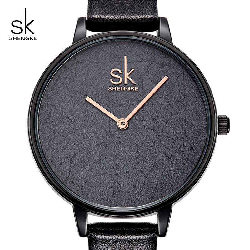 Shengke Women Leather Watch Top Brand Quartz Watch Ladies Creative Wristwatch Relogio Feminino 2018 SK Women Simple Clock #K0066 miler vintage fashion watch women retro leather strap world map casual quartz wristwatch ladies creative clock relogio feminino