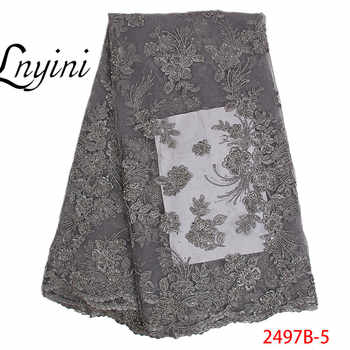 Nigerian Lace Fabric Handmade Luxury Embroidered Mesh African Beads Lace fabric High Quality French Tulle Lace Wine L2497B-2