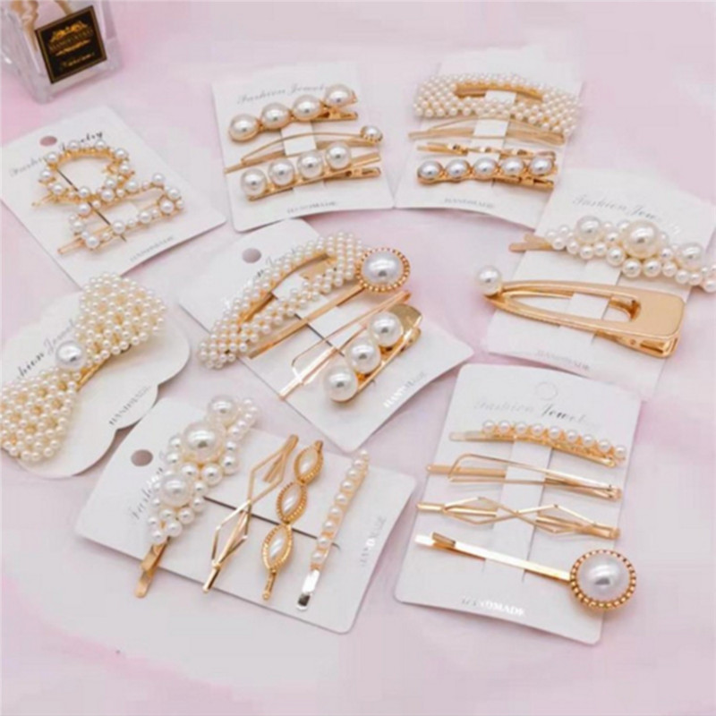 1Set Fashion Women Girls Pearl Hairpin Metal Hair Clip Hairband Comb Bobby Pin Barrette Headdress Accessories