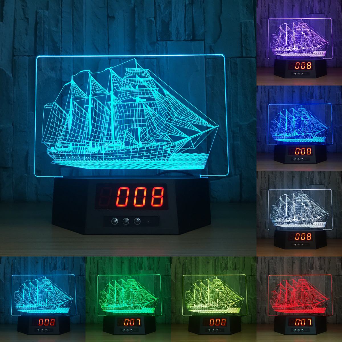 3D visual effects reading lamp touch remote control 3D lamp with calendar sailing boat a ...