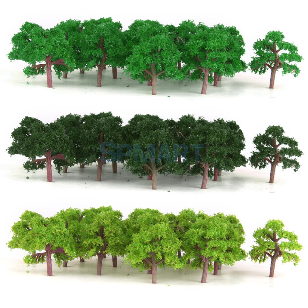 75PCS Model Trees Train Railroad Diorama Wargame Park Scenery Scale 1:300