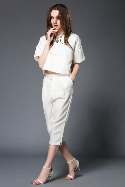 White Casual Elegant Pant Suit 2015 New Fashion Twinset Women Business Suits Formal Office Suits Work Women Suits With Pants Set