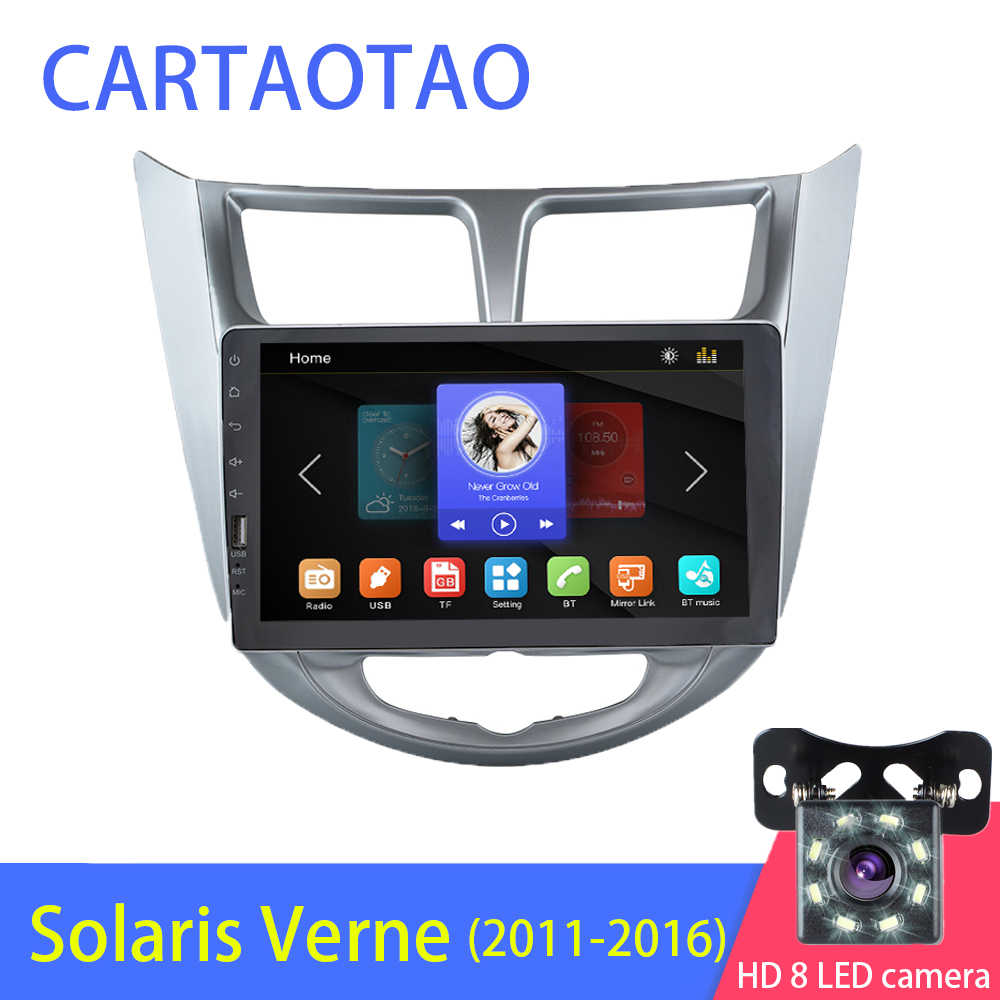 2DIN car radio multimedia video BT MP5 player(supports Android phone mirror link) for modern Solaris Verna Accent 2011-2016