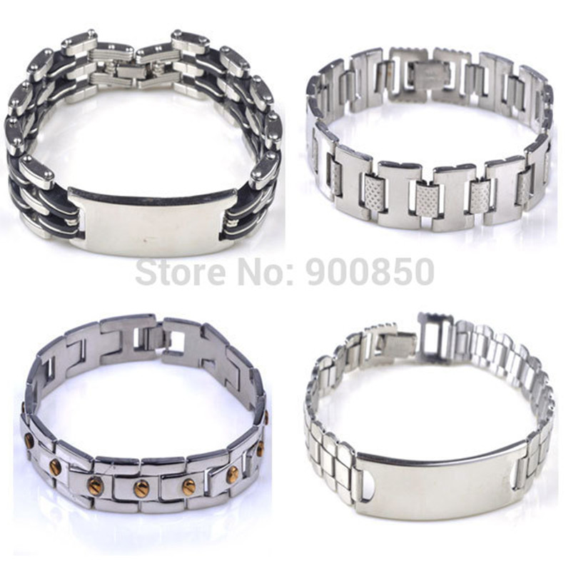 Trendy Men Stainless Steel Bracelet And Bangles Woman Gold Silver 316L Chain Bangle Cuff Wristband Gift